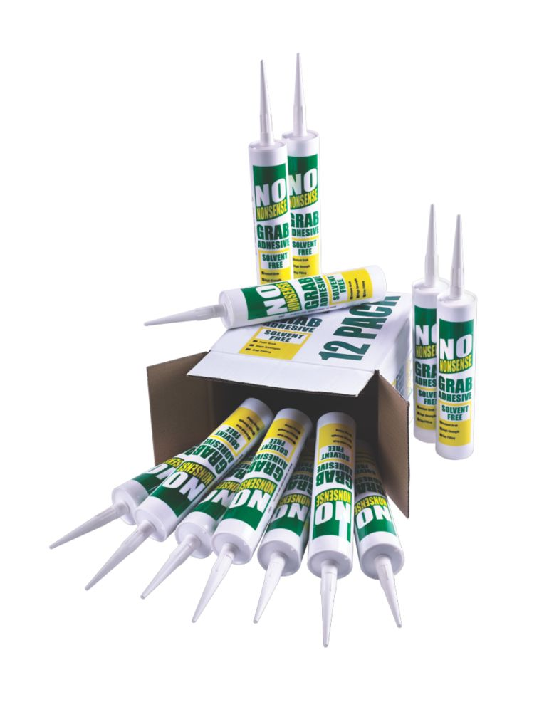 Image of No Nonsense 11663102 Solvent-Free Grab Adhesive White 310ml 12 Pack