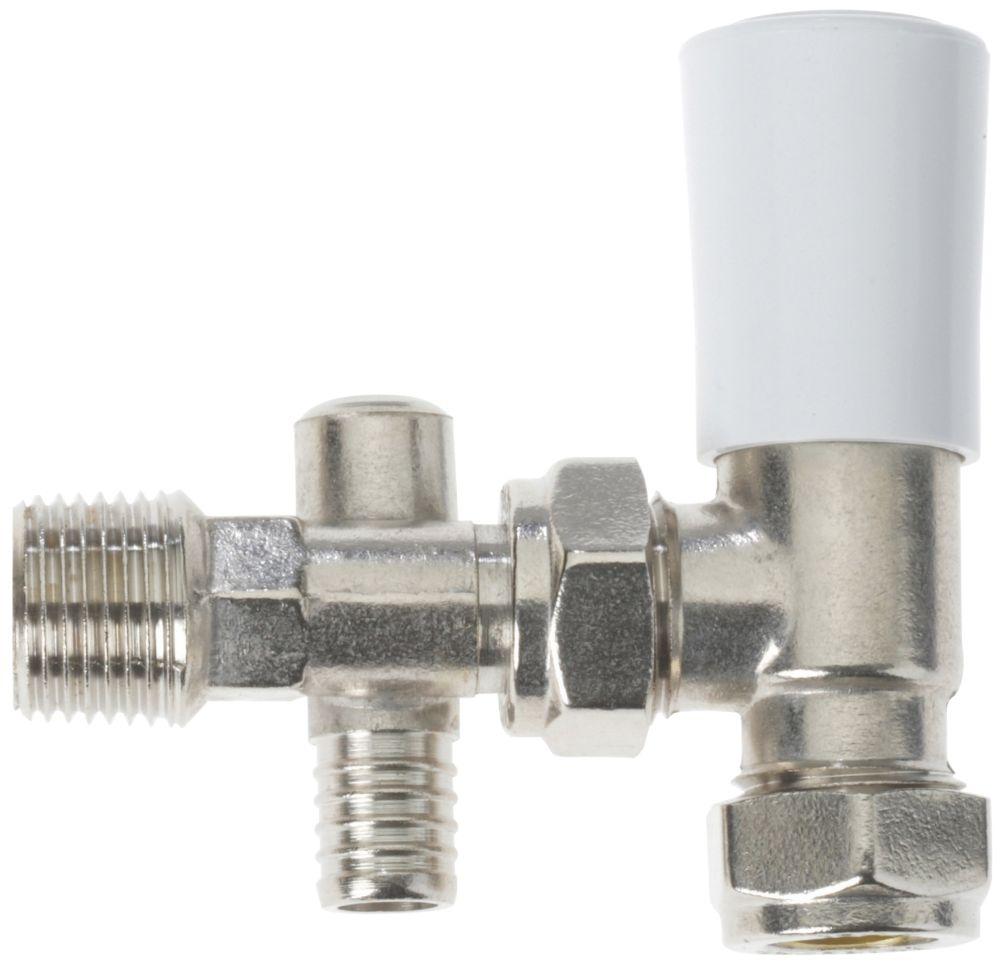 Image of Drayton 07 05 901SX White / Polished Chrome Angled Lockshield with Drain-Off 15mm