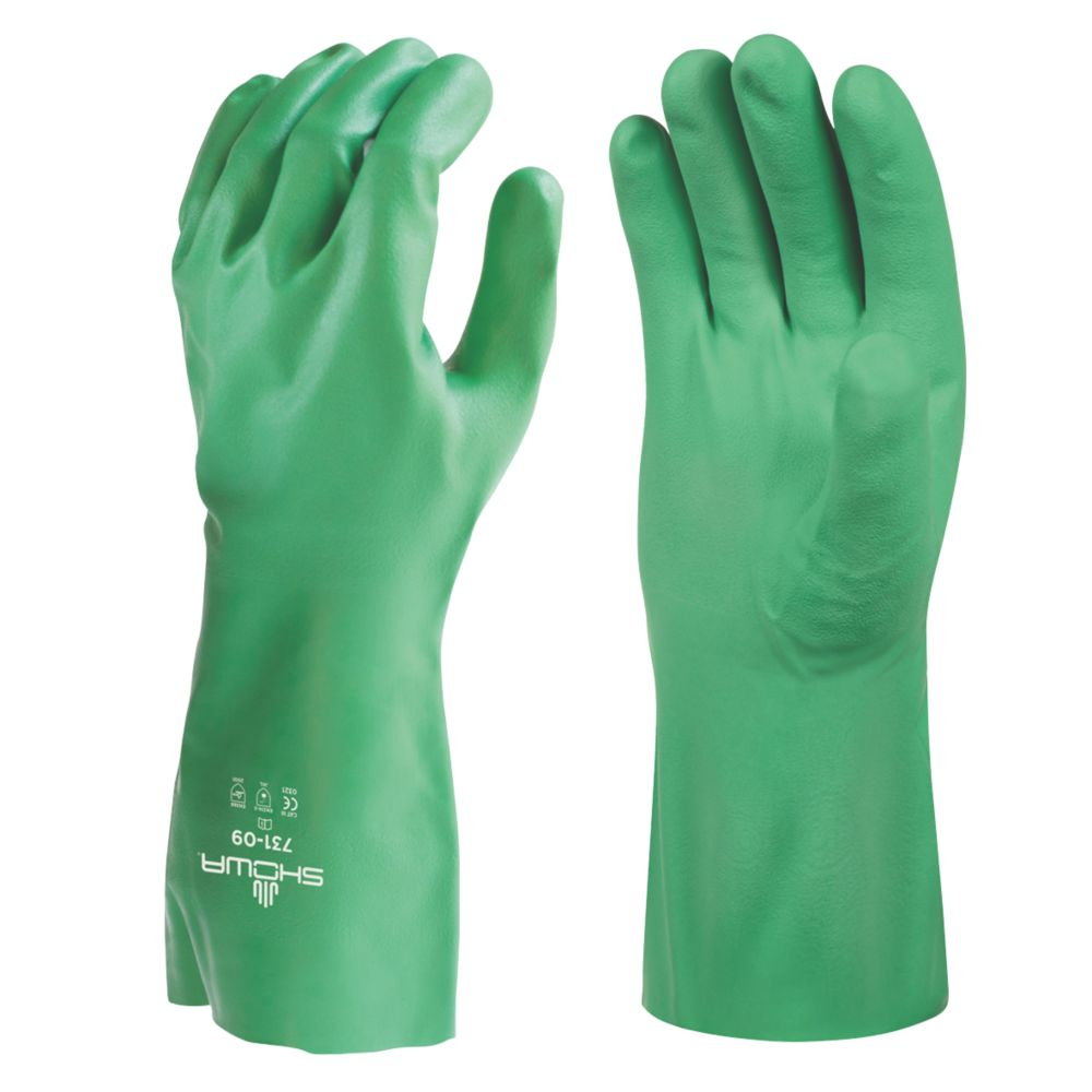Image of Showa 731 Biodegradable Chemical Gauntlet Green Large
