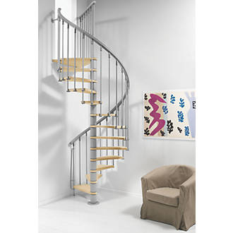 Image of Fontanot Wooden Tread Spiral Staircase LH/RH Finished Timber