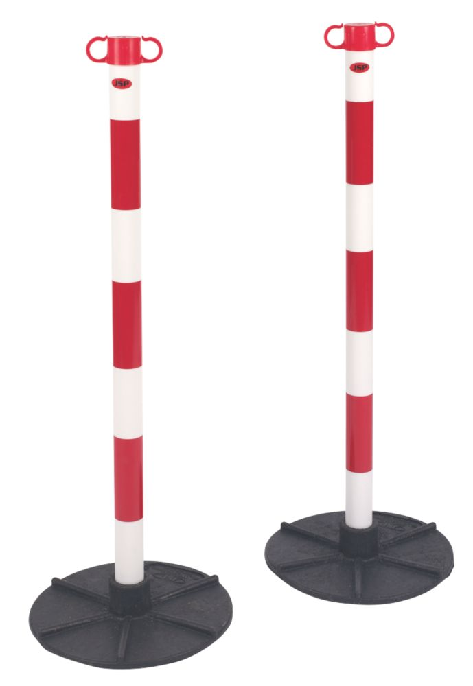Image of JSP Barrier Chain Support Posts & Bases Red & White 2 Pack