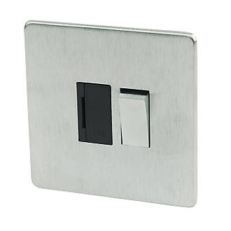 Image of 13A Switched FCU Brushed Chrome Low Profile Black Insert