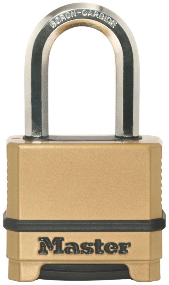 Image of Master Lock Die-Cast Zinc Long Shackle 4-Digit Combination Padlock Brass 56mm