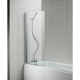 Ideal Standard Curved Bath Screen Frameless Silver/Clear 828 x ...