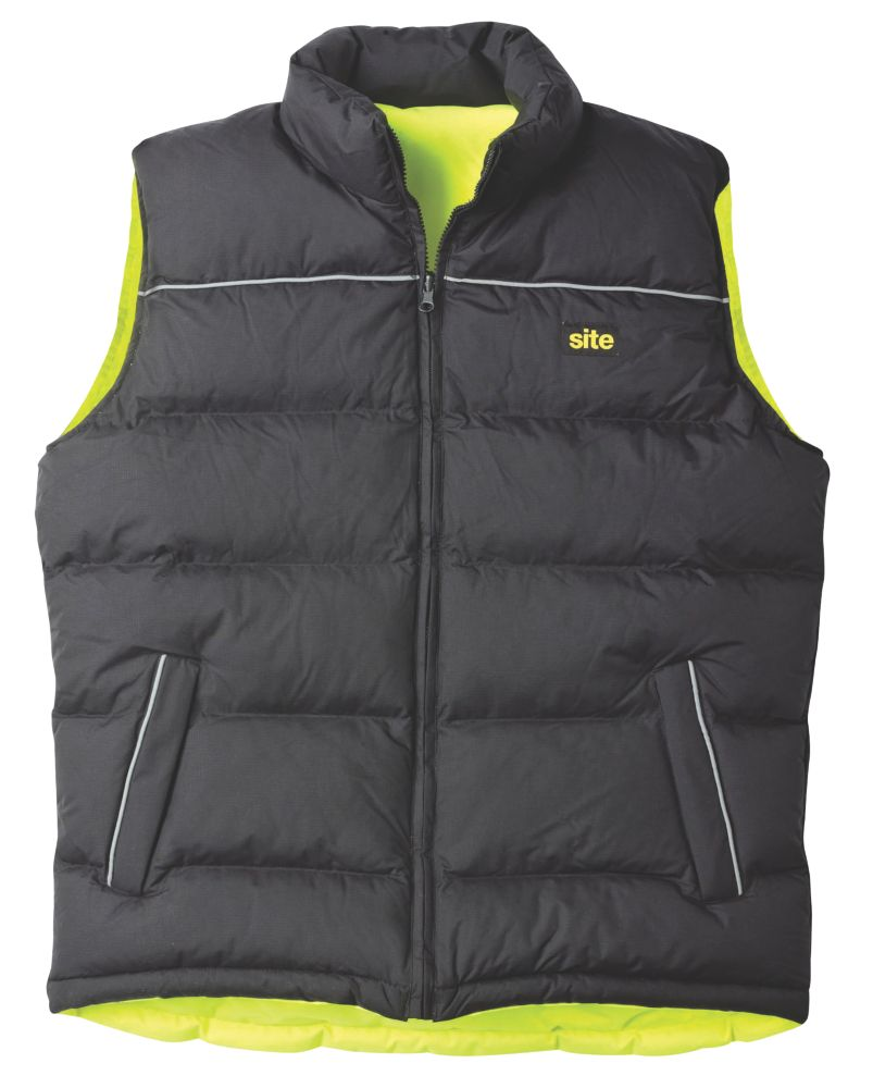 "Image of Site Reversible Hi-Vis Bodywarmer Yellow/Black X Large 47"" Chest"