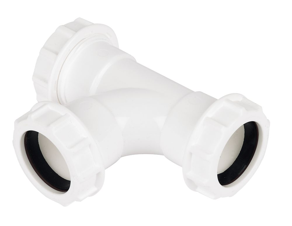 Image of FloPlast WC22 Universal Compression Waste Equal Tee White 32mm