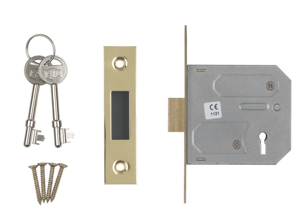 "Image of Smith & Locke 3-Lever 3-Lever Mortice Deadlock Electric Brass 3"" / 76mm"