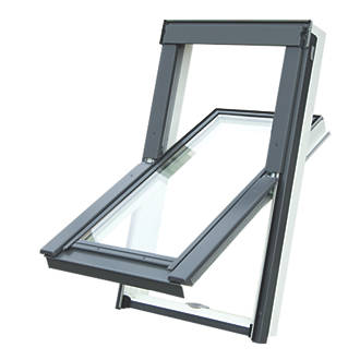 Image of Tyrem M4A Manual Centre-Pivot White uPVC Roof Window Clear 780 x 980mm