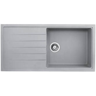 Image of Bristan Quartz Resin Composite Kitchen Sink & Reversible Drainer Grey 1 Bowl Left or Right-Handed 1000 x 500mm