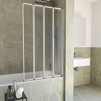 Aqualux Folding Bath Screen Silver Clear 820 X 1400mm