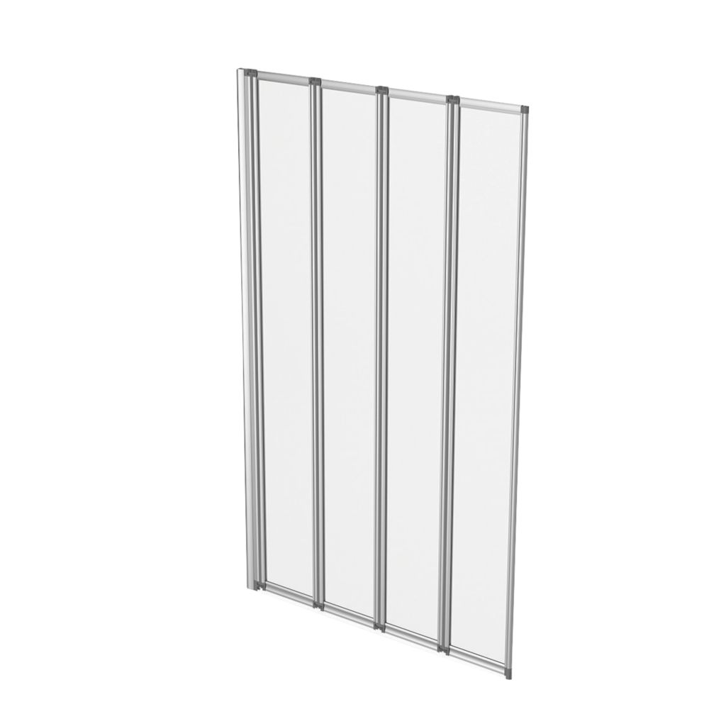 Image of Aqualux Folding Bath Screen Silver/Clear 820 x 1400mm