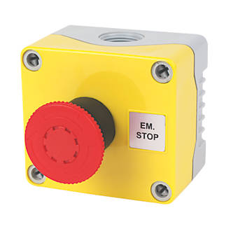 Image of Hylec 1-Way A-Lock Mushroom Head Stop Push Button