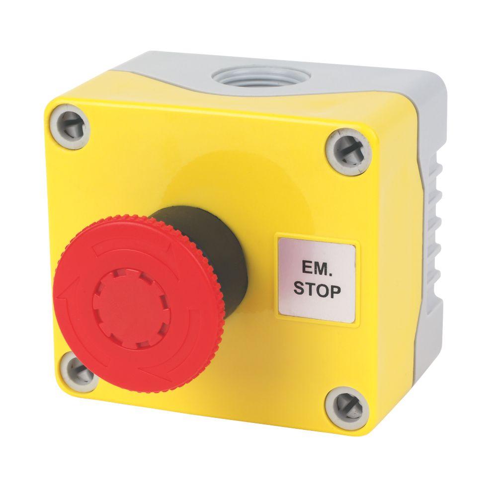 Image of Hylec 1-Way A-Lock Mushroom Head Stop Push Button
