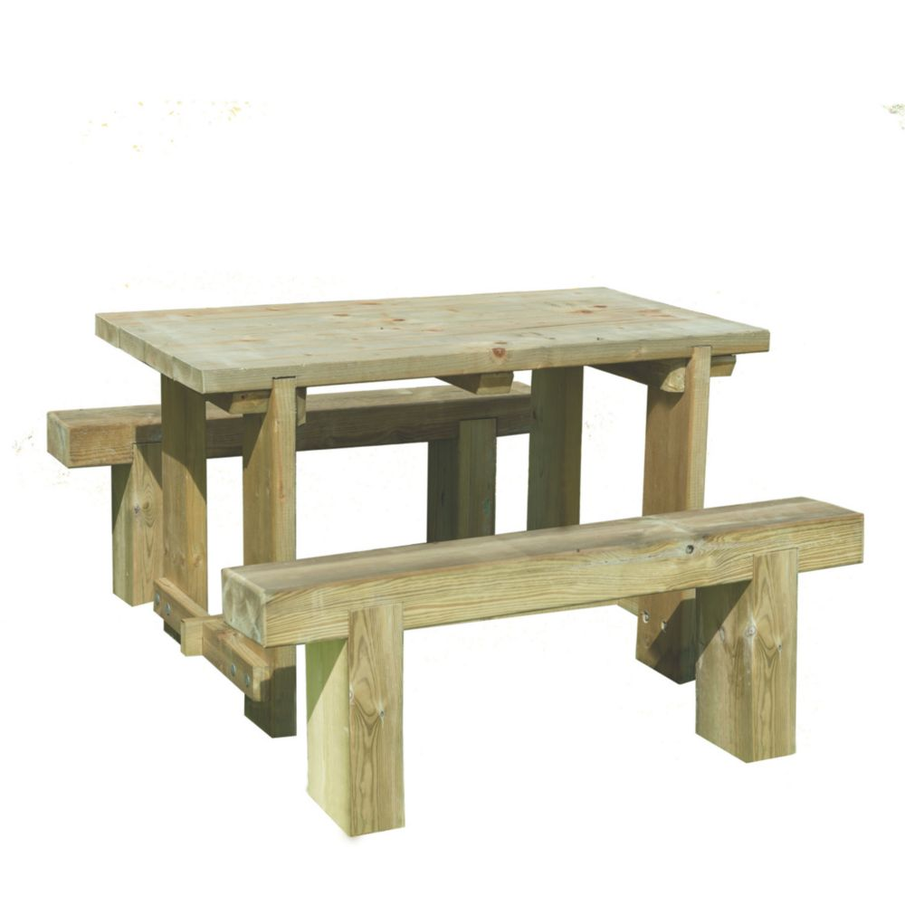 Image of Forest Sleeper Garden Table & 2 x Benches 1200 x 700 x 750mm