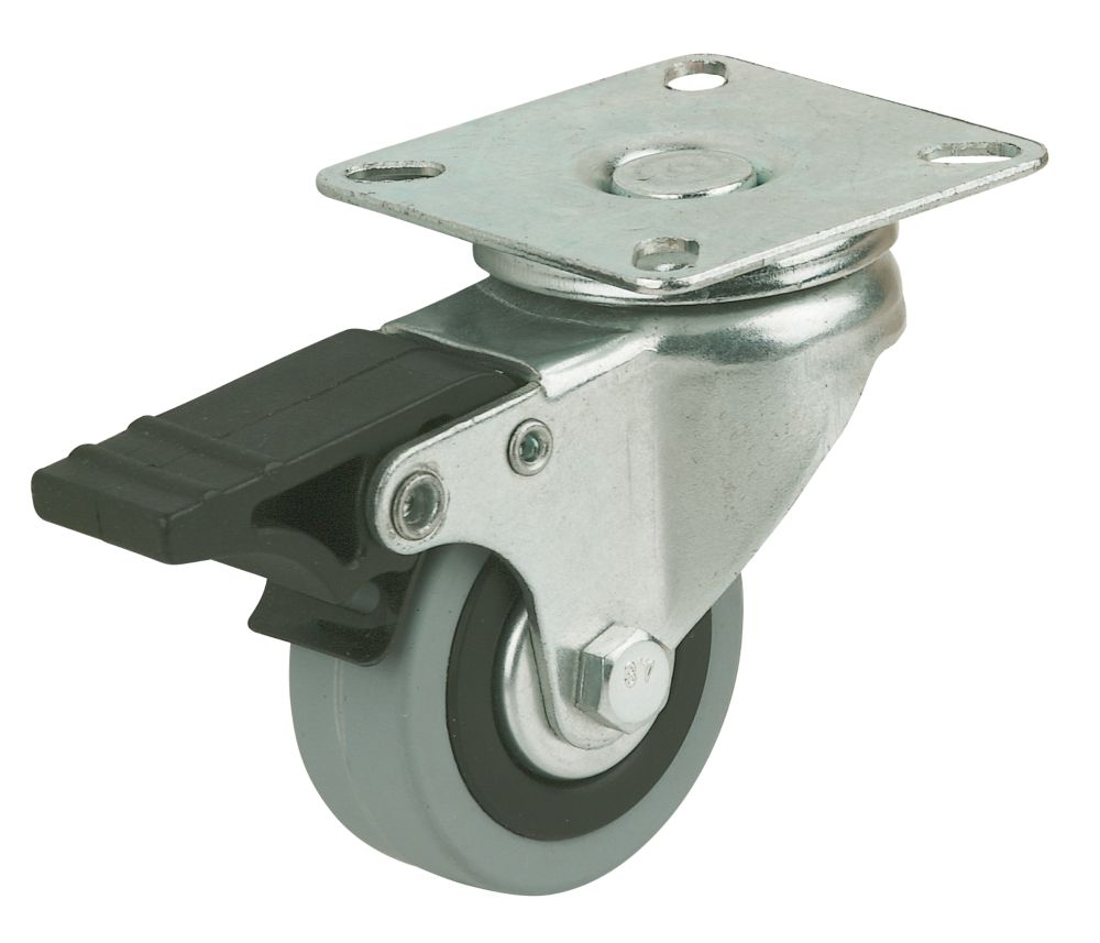 Image of Rubber Tyres Swivel Braked 100mm 4 Pack