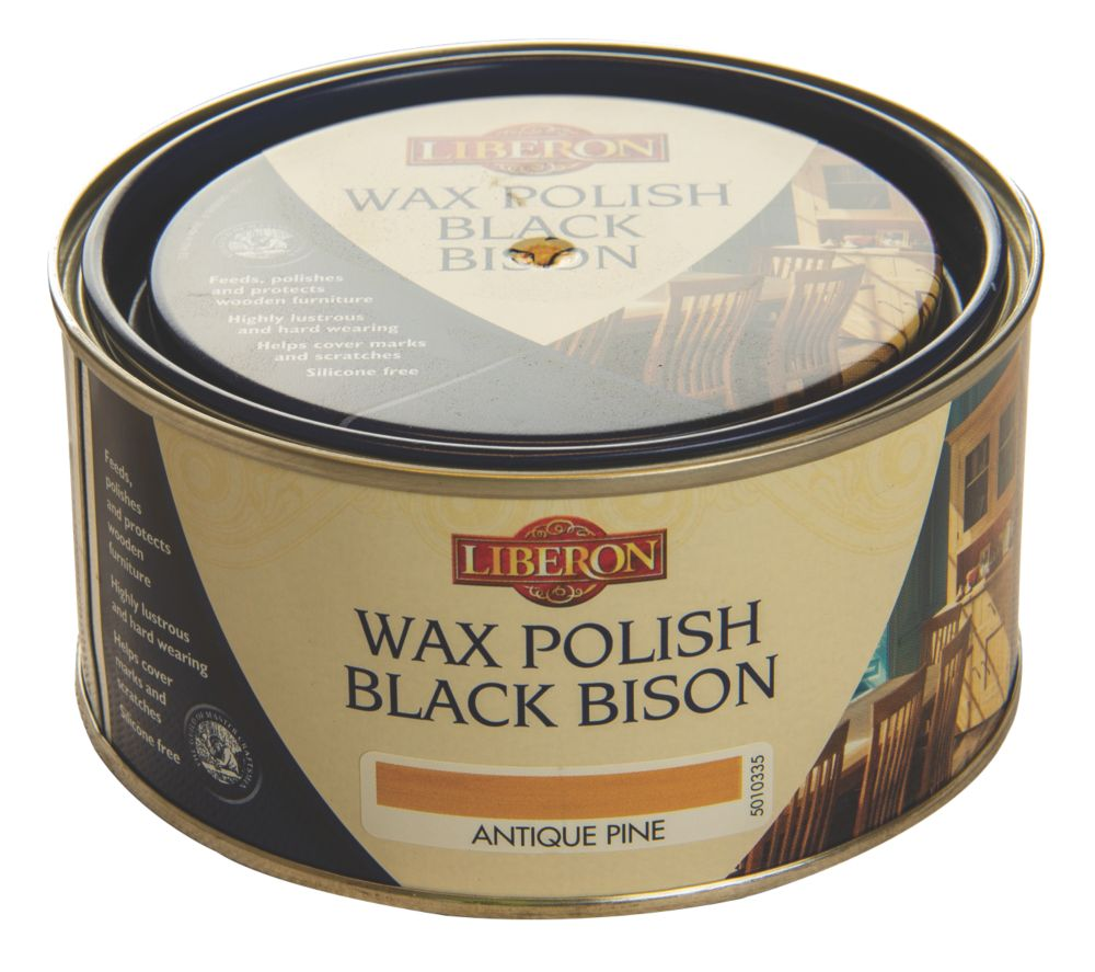 Image of Liberon Black Bison Paste Wax Satin to gloss Antique Pine 500ml