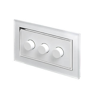 Image of Retrotouch 3-Gang 2-Way LED Rotary LED Dimmer Switch White Glass with White Inserts