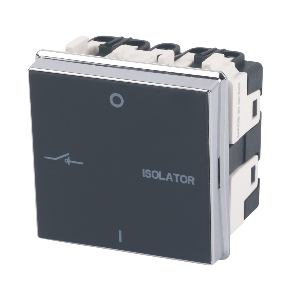 Image of ABB 10A 1-Gang 3-Pole Fan Isolator Switch Silk Black