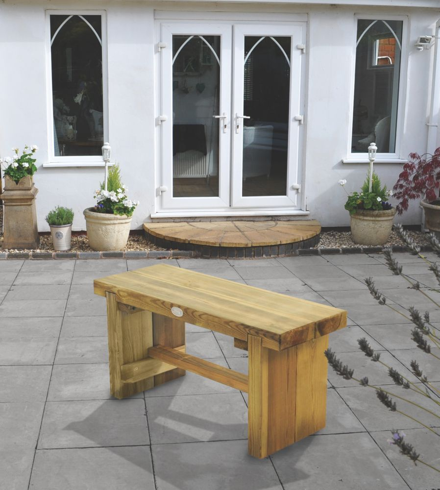 Image of Forest Double Sleeper Garden Bench Softwood 900 x 350 x 445mm