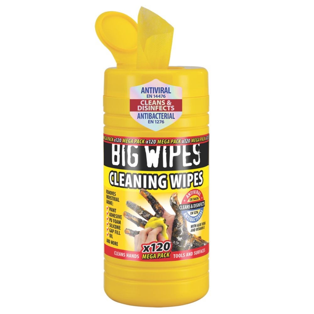 Image of Big Wipes Industrial Cleaning Wipes Yellow 120 Pack