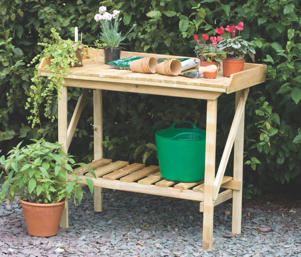 Image of Forest Larchlap Softwood Potting Bench Green 0.9 x 0.5 x 1.1m