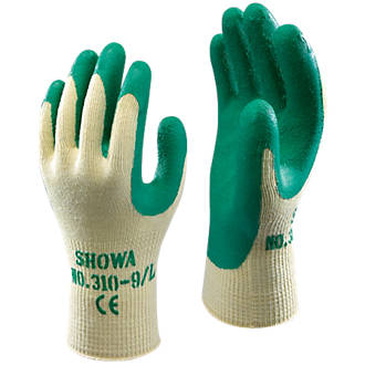 Image of Showa 310G Latex Grip Gloves Green Large