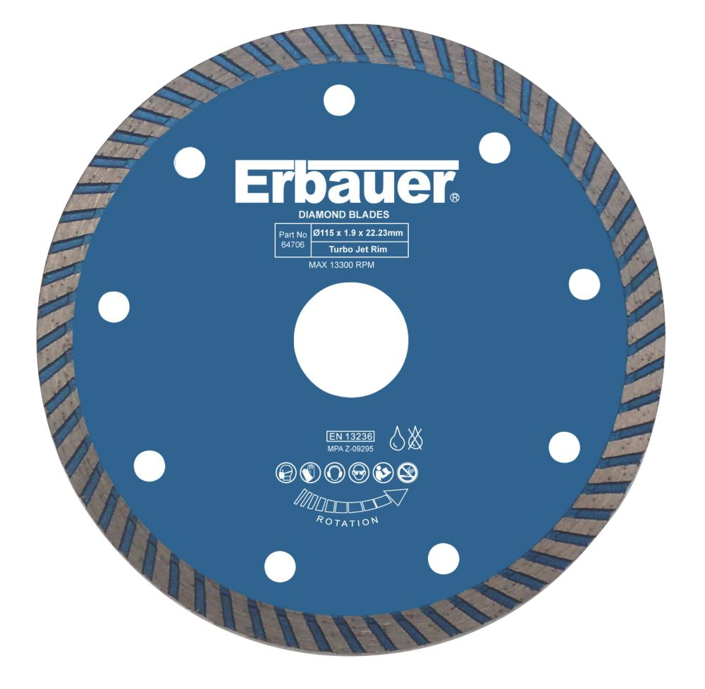Image of Erbauer Turbo Diamond Tile Blade 115 x 22.23mm