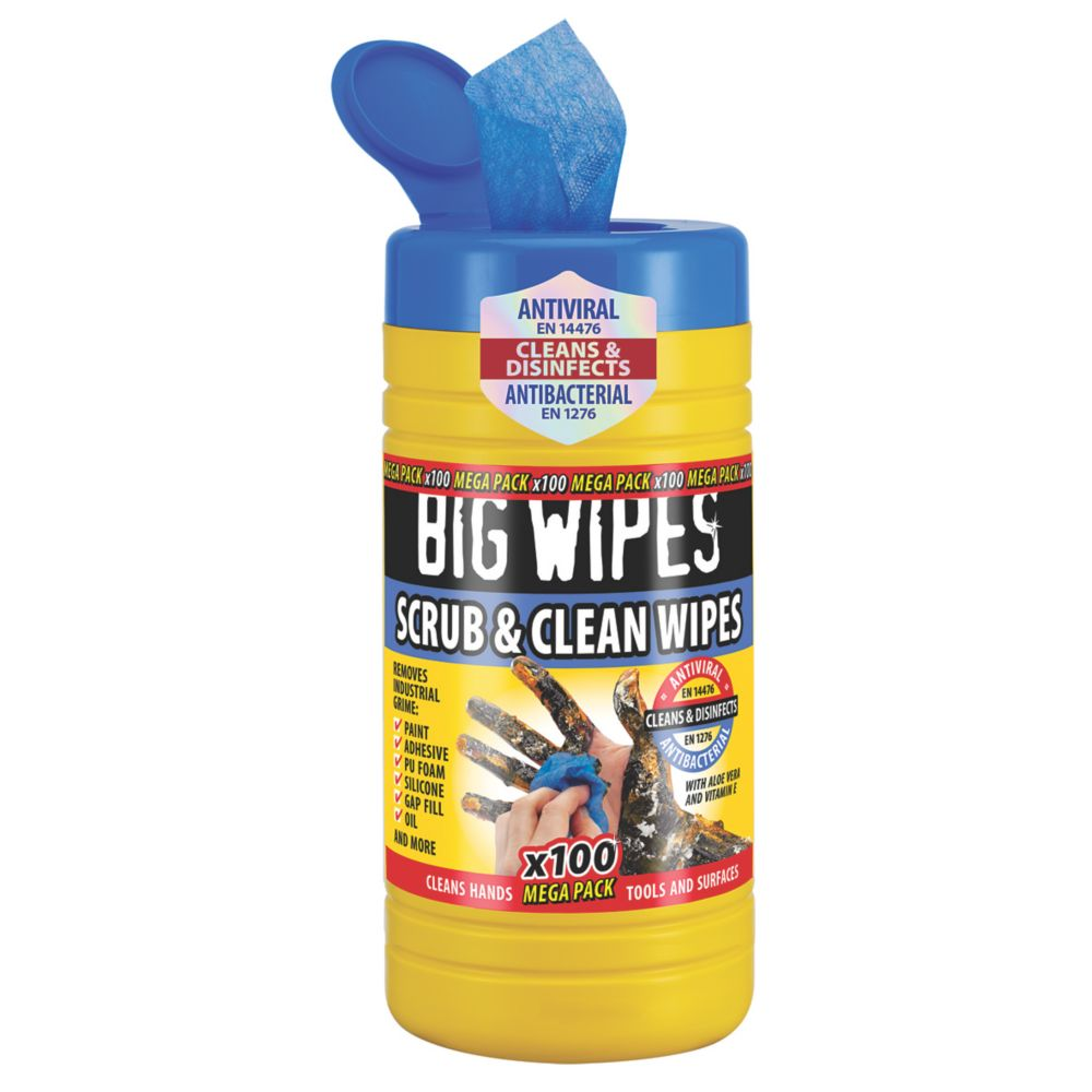 Image of Big Wipes Industrial Cleaning Wipes Blue 100 Pack