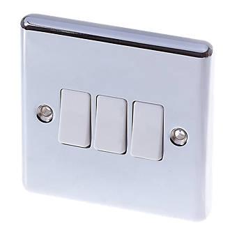 Image of LAP 10AX 3-Gang 2-Way Light Switch Polished Chrome