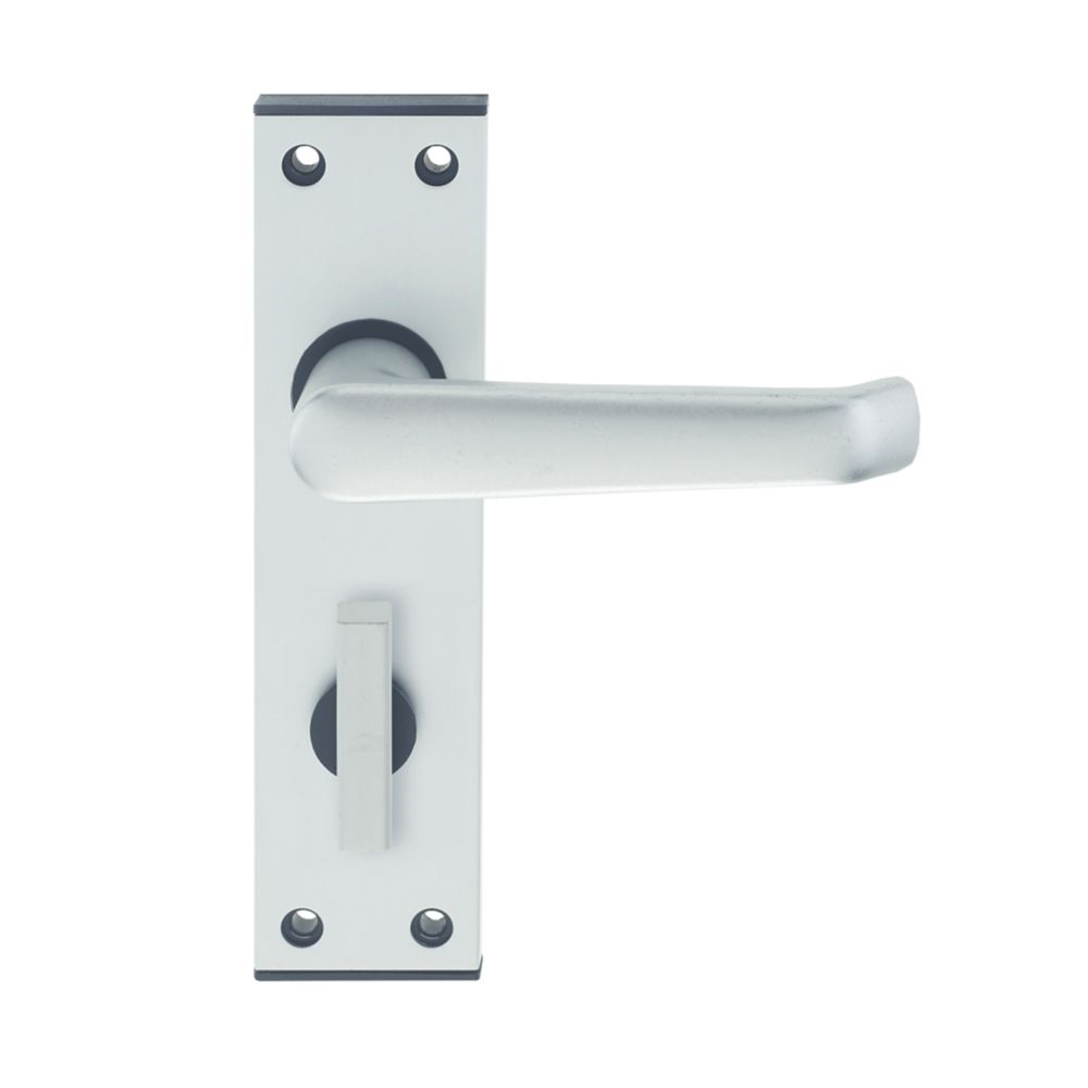 Image of Union Ambassador Bathroom Door Handle Pair Satin Aluminium