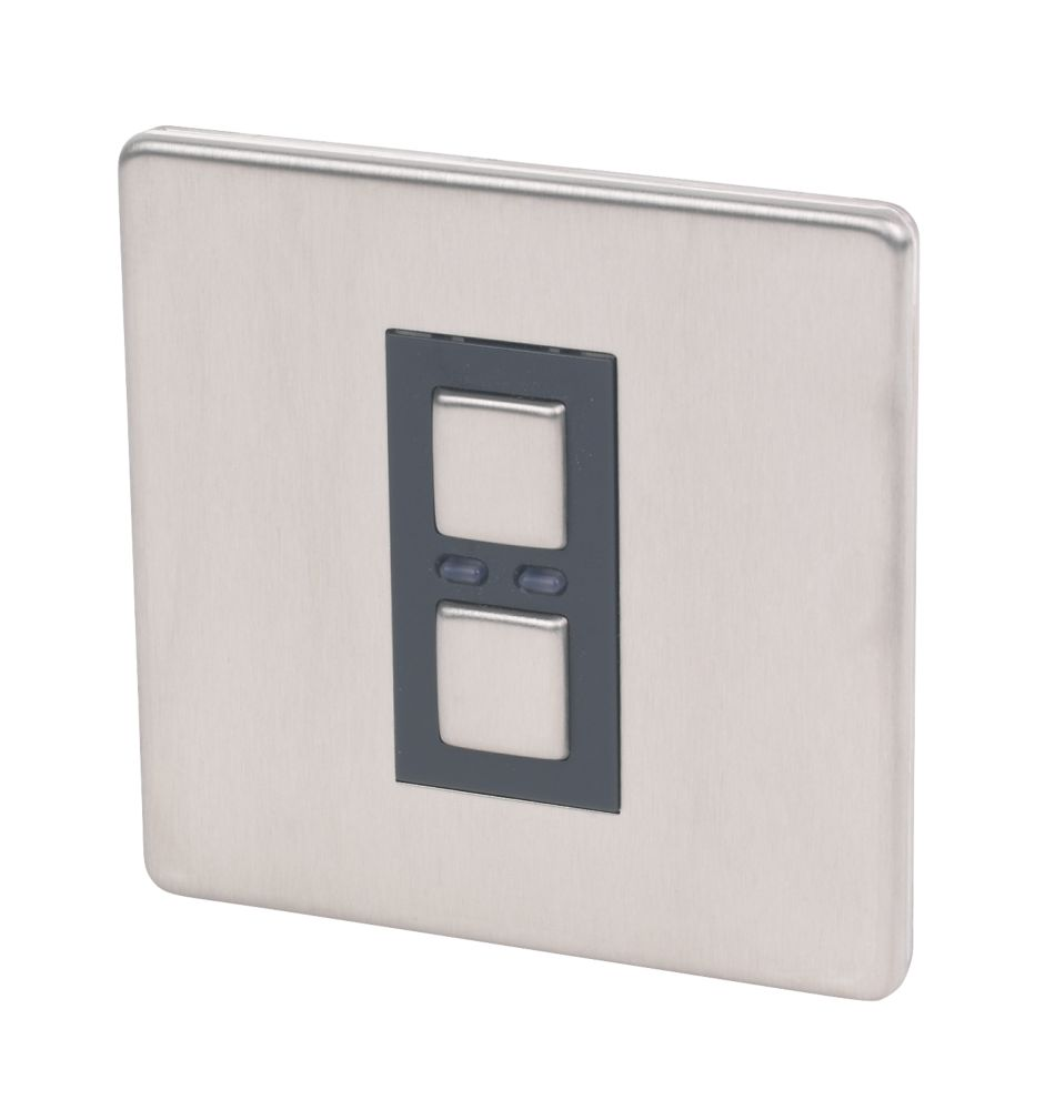 Image of LightwaveRF 1-Gang 2-Way Slave Dimmer Switch Stainless Steel