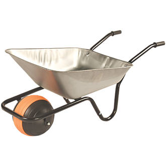 Image of Walsall Duraball Puncture-Proof Wheel Wheelbarrow Galvanised 85Ltr