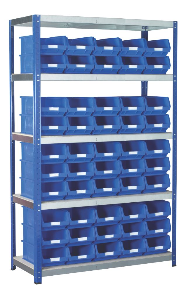 Image of Barton Ecorax Shelving Blue 1200 x 450 x 1800mm