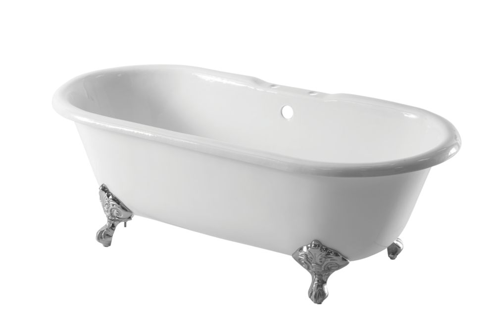 Image of Arroll Roll Top Bath Cast Iron 2 Tap Holes 1676mm