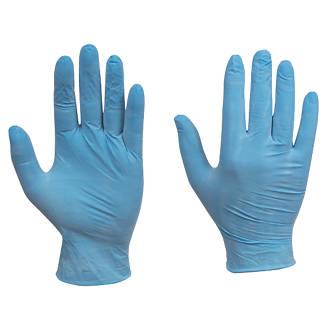 Image of Cleangrip Vinyl Powdered Disposable Gloves Blue Medium 100 Pack