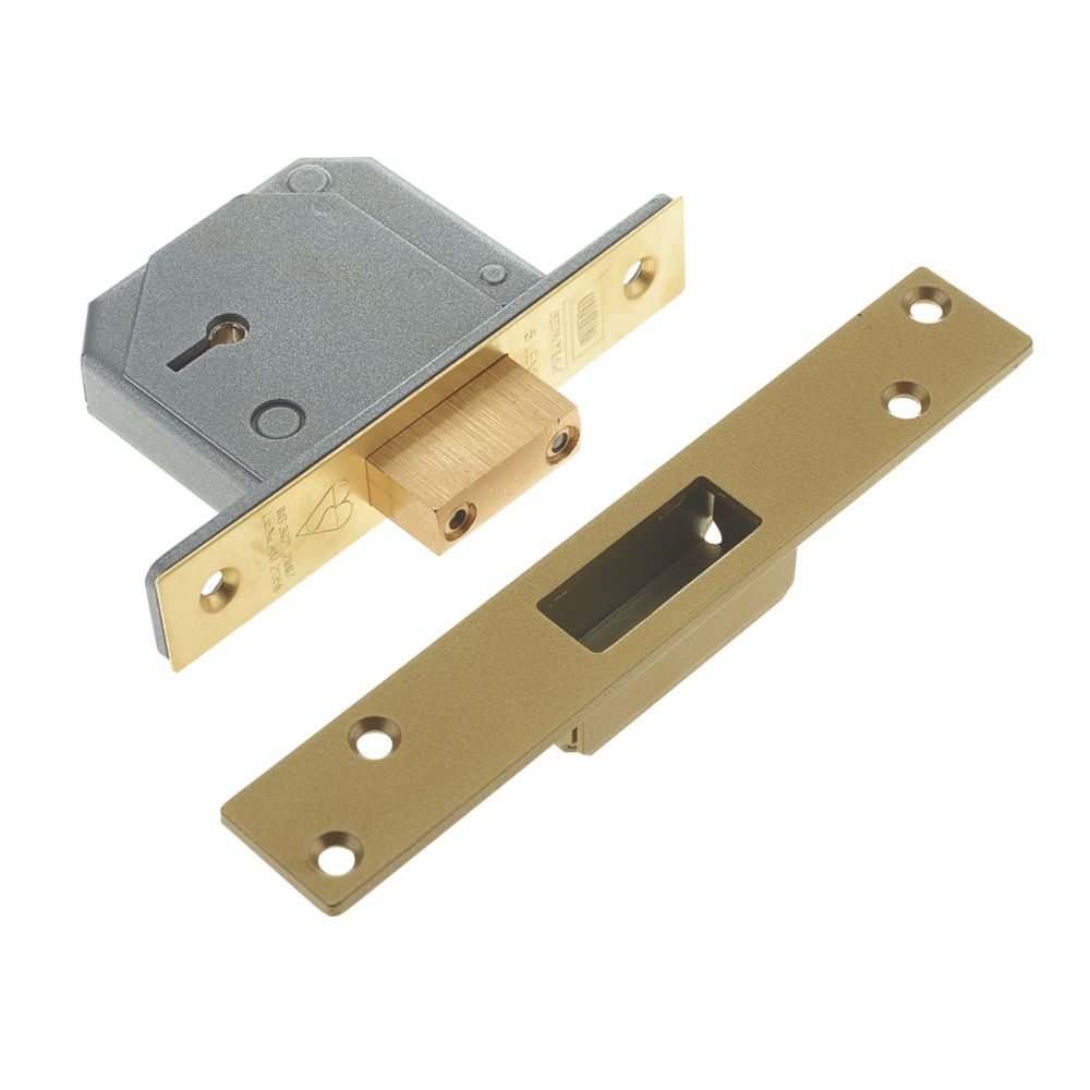 """Image of Union BS 5-Lever Mortice Deadlock Polished Brass 1"""" / 40mm"""
