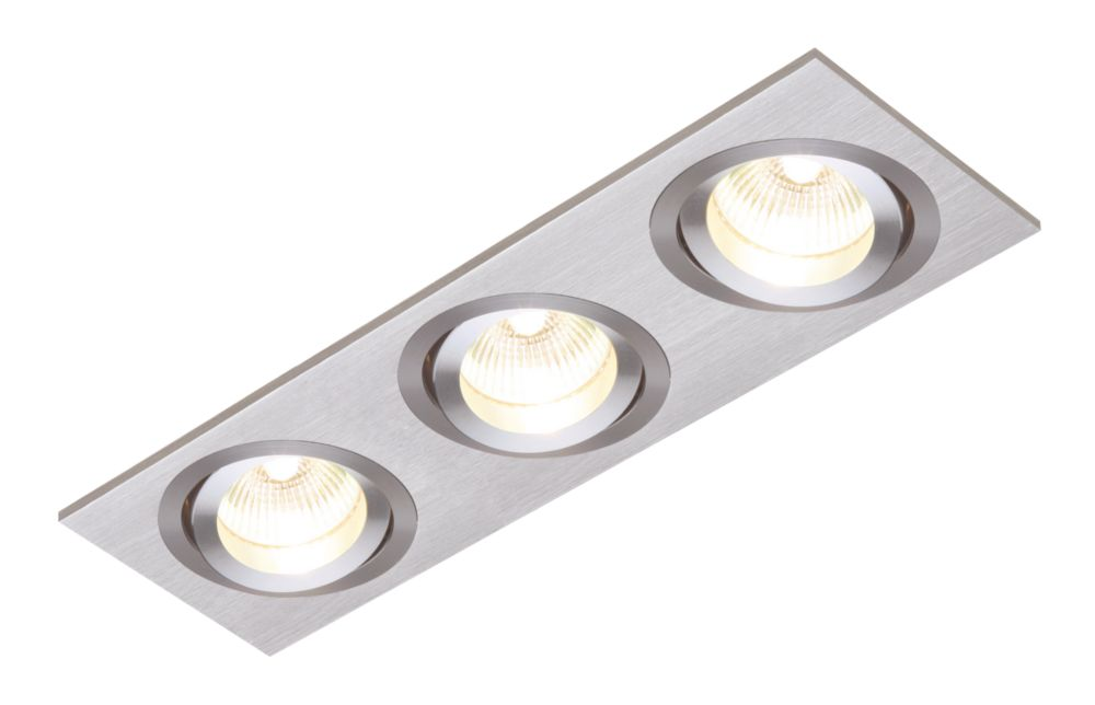 Image of Saxby Recessed Brushed Silver 3-Light Downlights 240V