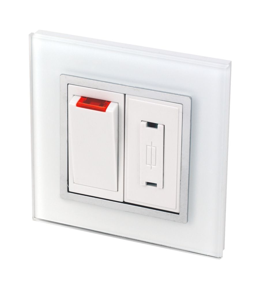 Image of Retrotouch Crystal 13A Switched Fused Connection Unit +Neon Tru White Glass