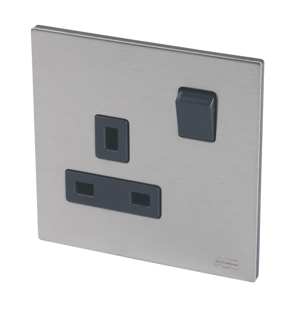 Image of ABB 13A 1-Gang DP Switched Socket Brushed Stainless Steel