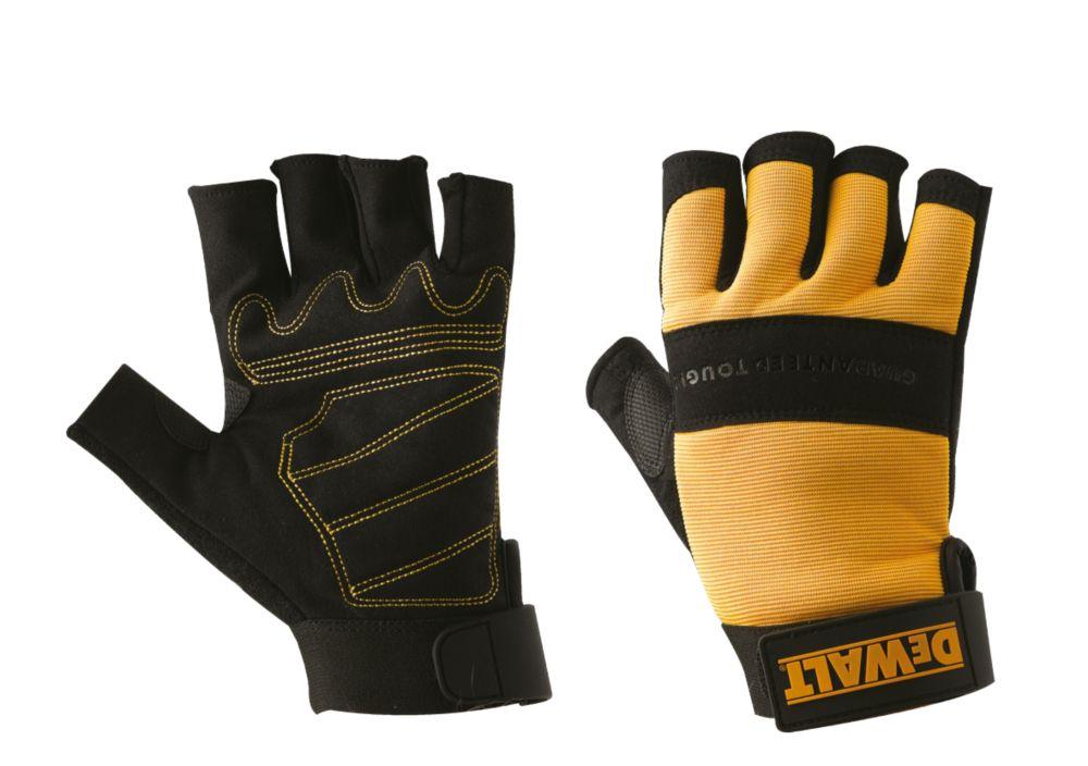 Image of DeWalt DPG23L EU Performance 4 Fingerless Gloves Black / Yellow Large
