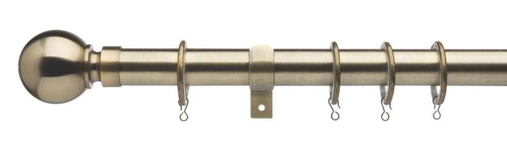 Image of Universal Extendable Metal Curtain Pole Antique Brass 28mm x 1.2-2m