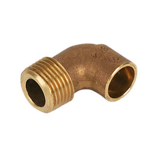 Image of Endex Brass End Feed Adapting 90° Male Elbow 15mm x ½""