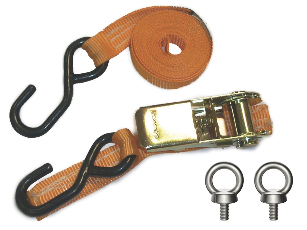 Image of Van Guard Ratchet Tie-Down Strap with Hook & Eyebolts 2.5m x 25mm