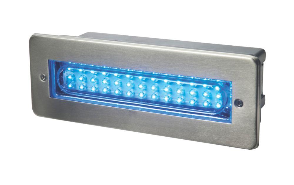 Image of Dakota Blue Brushed Stainless Steel LED Brick Light 2W