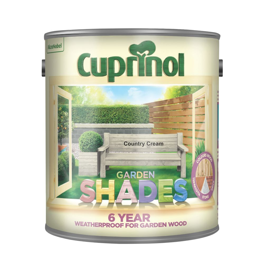 Image of Cuprinol Garden Shades Wood Paint Matt Country Cream 2.5Ltr