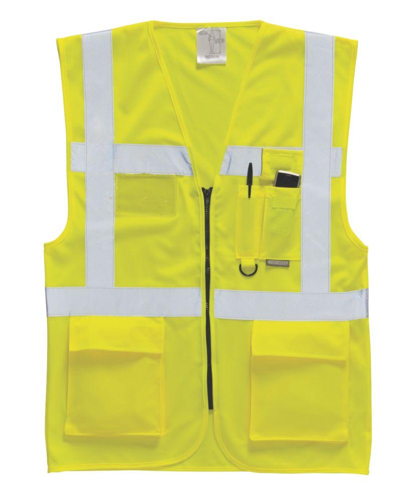 "Image of Hi-Vis Executive Waistcoat Yellow Medium 40-41"" Chest"
