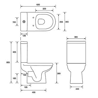 Ideal Standard Della Close Coupled Toilet Dual Flush 6Ltr