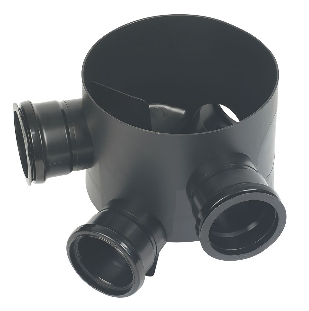 Image of FloPlast 3-Inlet 45 Inlet Inspection Chamber Base Black 295mm