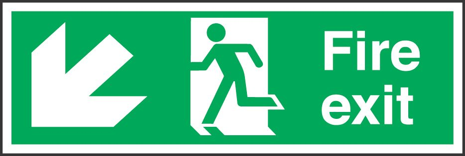 """Image of Fire Exit"""" Down Left Arrow Signs 150 x 450mm 50 Pack"""