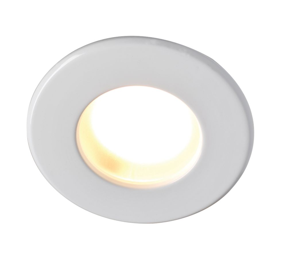 Image of Robus Fixed Round Mains Voltage Bathroom Downlight White 240V